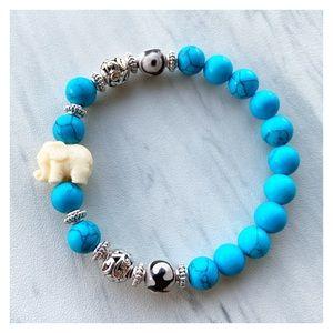 Turquoise howlite silver beads elephant bracelet